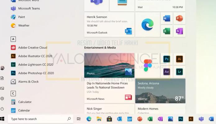 Yeni Windows 10 Başlat Menüsü